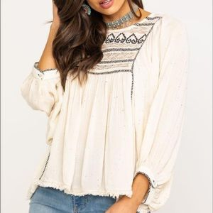 FREE PEOPLE Cyprus Avenue Embroidered Boho Top